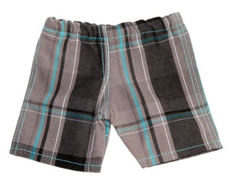 Fits Like American Girl Doll Clothes.  18-Inch Boy Doll Shorts.  Grey and Turquoise Plaid Shorts.
