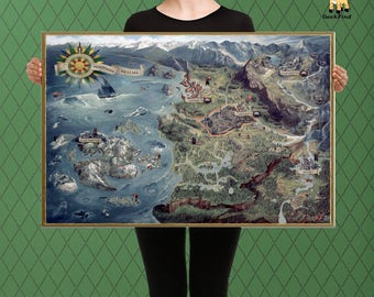 Elder scrolls map etsy the witcher inspired complete northern kingdom map temeria custom raised canvas gumiabroncs Gallery