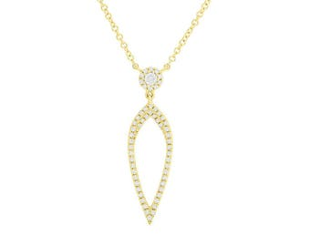 Stylish 0.20CT 14K Yellow Gold Natural Round Cut Diamond Tear Drop Open Pendant Necklace