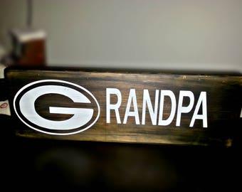 Grandpa Sign, Grandpa Gift, Home Decor, Wood Sign, Green Bay Inspired Grandpa Sign, Packers Inspired Grandpa Sign, Table Decor, Gift for him
