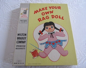 """UNUSED Vintage 1956 Milton Bradley #4618 """"Make Your Own Rag Doll"""" Sewing Craft Kit Teach Children Learn To Sew Toy Original Box Girl Pigtail"""