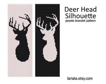 Deer Head Silhouette - Peyote Bracelet Pattern - INSTANT DOWNLOAD