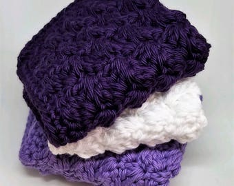 Set of 3 Crocheted Dishcloth - Dark Purple, Lavender, and White Dishtowels - Cotton Kitchen Cloths - Kitchen Decor - Vintage Style