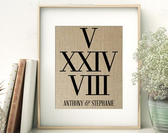 Roman Numerals Wedding Date | Personalized Burlap Print | Anniversary Gift for Husband | Bridal Shower Gift | Numbers Date Print