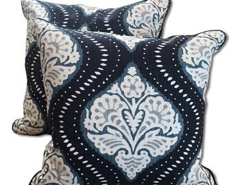 Navy blue  and White damask pillow covers