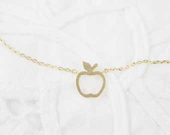 Tiny Open Apple Charm Necklace  Tiny Charm Necklace Bridesmaid Gift . Birthday Gift