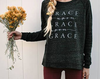 Religious Sweaters-Religious Sweatshirts-Sweaters-Pullovers-Womens Sweaters-Grace Upon Grace or Coffee-Charcoal-Mommy LaDy Club Mama Soul