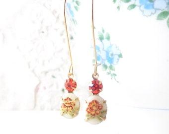 Vintage Limoges Daffodil Flower Earrings - Long Dangle Earrings - Flower Cameo Earrings - Hyacinth Rhinestone Earrings - Garden Wedding