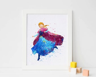 Anna Print, Frozen Disney Watercolor Frozen Nursery Frozen Wall decor,  Disney Princess Poster, Instant download, frozen decorations