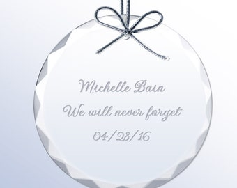 Engraved Round Crystal Ornament