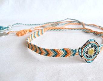 Orange jewel blue woven headband silver charms wings hair beads hippie headband tie Brasilda Nevada