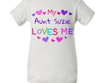 My Aunt Loves Me Baby Onsie, Custom Onesie, Custom Baby Onsie, Personalized Onesie, Baby Shower , Baby Gifts, Girl Onsie, Baby, Funny Onsie