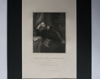 1830s Antique Anthony van Dyck Print of Henry Percy, Earl of Northumberland, Available Framed, History Art Historical British Tudor Portrait