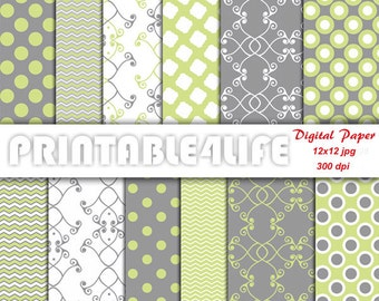 Green gray digital paper pack, Lime Green, Chevron Dot Damask background pattern Printable Scrapbook paper, Personal / Commercial Use (a17)