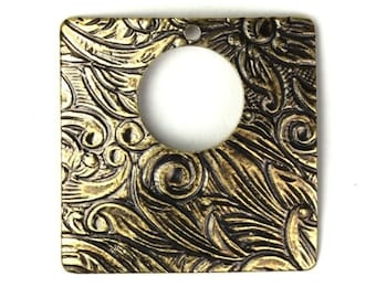 Ornate Square Stampings Charms 20mm Brass Ox (4) CP122