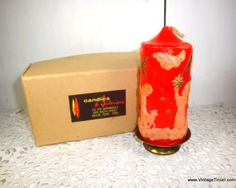 Beautiful Vintage Christmas Candle, Carved, Scenic, Red, Angel, Cloud, Star, Moon, Christmas Tree, Boxed, Metal Candle Holder, Unused (7856)