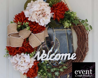 Welcome Wreath, Fall Wreath, Front Door Wreath, Floral Wreath, Wreath for Front Door, Autumn Wreath, Hydrangea Wreath