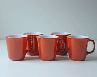 5 Pyrex coffee cups burnt orange - milk glass