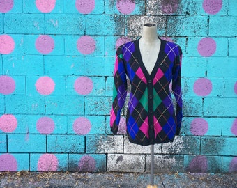Vintage 1990s Argyle Plaid Jewel Tone Knit Cardigan Wool Sweater (Size Small)