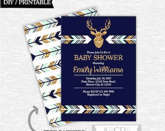 Mint Navy Glitter Gold Woodland Deer Baby Shower invitation Deer DIY Printable (PDWSI021)
