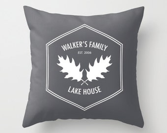 Custom Rustic Pillow Cover, Lake House Decor, Custom quote pillow, lake pillow cover, grey pillow cover, custom family pillow, hostess gift