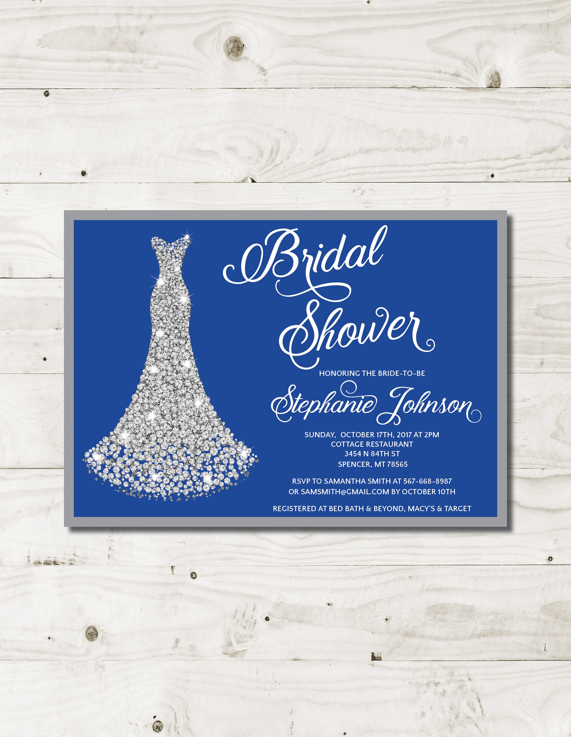 royal blue bridal shower invitation royal blue wedding