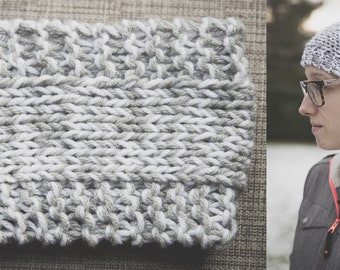 Gray and white knitted headband