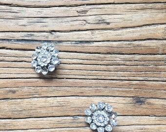 SALE Vintage Rhinestone Flower Clip On Earrings, Costume Jewelry, Women's Earrings, Floral Earrings, Sparkly Earrings, Retro Earrings