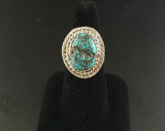 Navajo Rough Kingman turquoise sterling silver ring - size 9