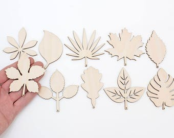 Set of 10x Wooden Leaves (8cm) Embellishments Shapes Art Projects Craft  Decoration Gift Decoupage Ornament MG000729