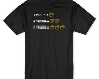 Tequila Shots Blurry Alcohol Men's Black T-shirt