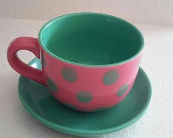 Retro pink and green polk a dot tea cup and saucer set