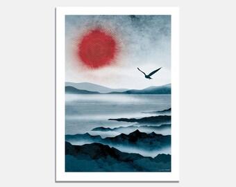 Northern Sun Art Print / bird flying over water / sea / rocks / mist / winter sky / artwork / blue / red sun / landscape / soaring / seagull