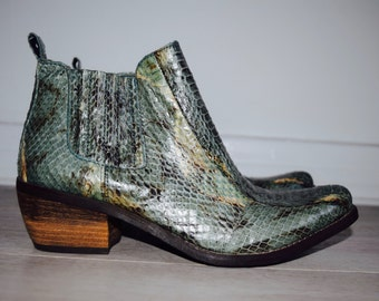Teal Snakeskin Ankle Boots