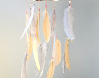 Feather Mobile, Baby Mobile, Dream Catcher Mobile, Peach and Gray Feather Mobile, Boho Mobile, Boho Nursery Mobile