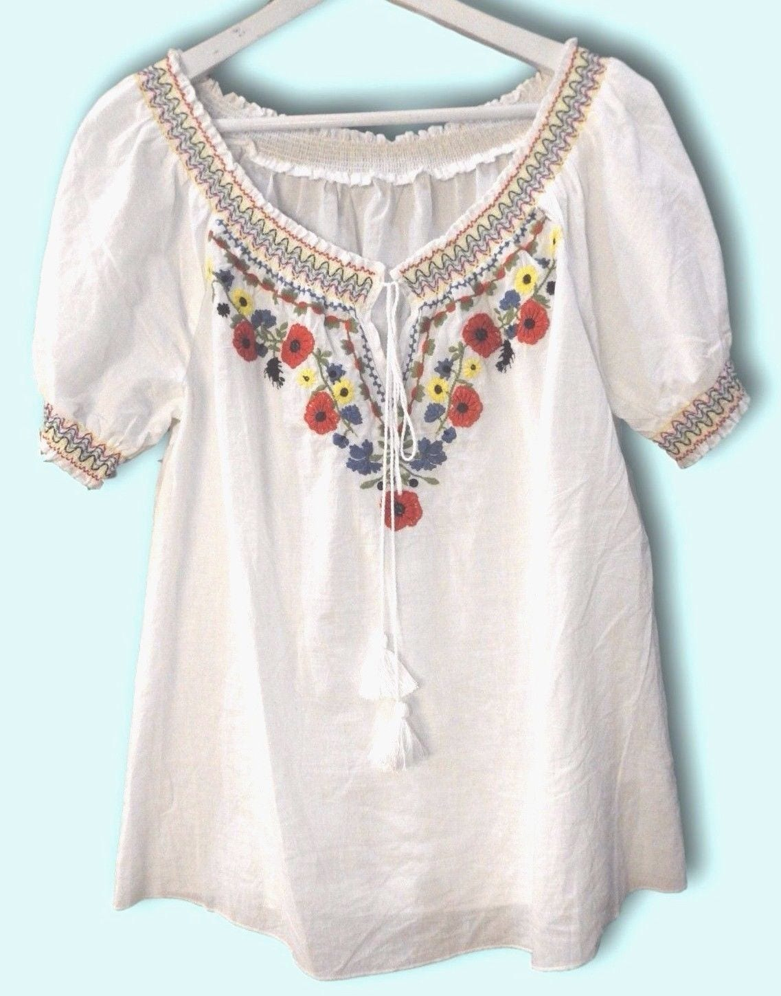 Floral embroidered shirts, White embroidered blouses women ...