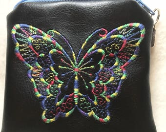 Leatherette embroidered butterfly coin purse