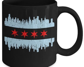 Chicago flag skyline coffee mug windy city