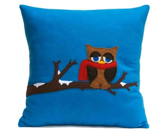 Little Owl in Winter- Appliquéd on Blue Eco-Felt 18 inches