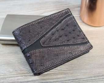 Genuine OSTRICH wallet for men-Men's wallet in real ostrich-Made in Italy