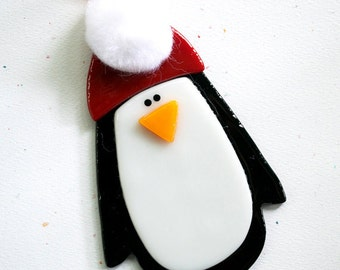 Fused Glass Christmas Tree Ornament - Penguin