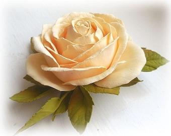 Antique white Wedding rose clip Bridal Hair piece Bridal Hair flower Rose Romantic bridal hair Accessory Rose ivory Wedding Accessory bridal