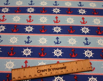 red white blue Anchors 100% cotton fabric 44 inch / 110cm Nautical  boats ships