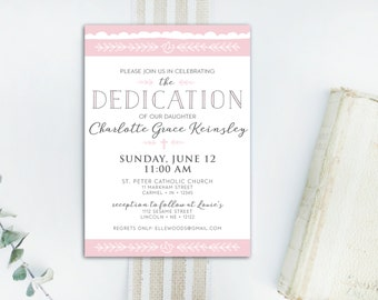 INSTANT DOWNLOAD dedication invitation / baby dedication invite / dedication announcement / baby girl dedication