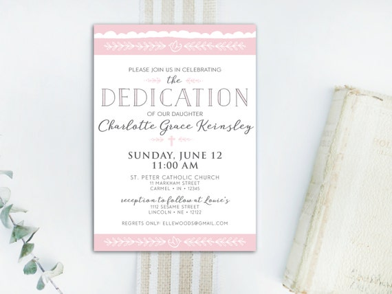 INSTANT DOWNLOAD dedication invitation baby dedication