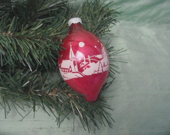 Shiny Bright pink stencil ornament  / vintage church and steeple stencil teardrop bauble