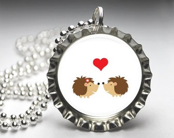 Woodland Forest Characters Bottlecap Necklace, Bottelcap Pendant Jewelry, Valentine Love, Free Ball Chain
