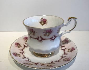 Vintage Royal Dover Fine Bone Teacup and Saucer