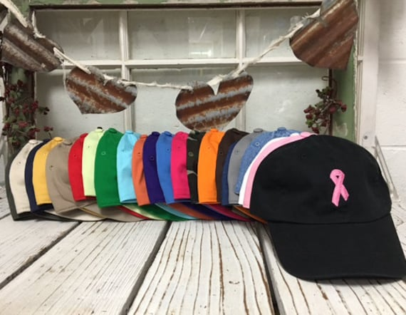 Cancer Hat | CANCER RIBBON , Breast Cancer , Embroidered , Baseball Cap , Low Profile , Baseball Hat , Breast Cancer Ribbon , Fight Cancer