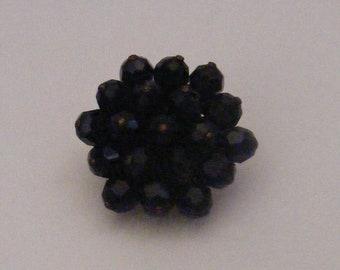 Vintage  Cluster of  Black Faceted Beads Brooch